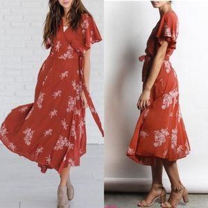 Anthropologie Wrap Dress Burnt Orange Red Large